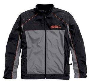 Harley-Davidson Mens Recumbant Heated Soft Shell Jacket Black Gray 98556-15VM Large