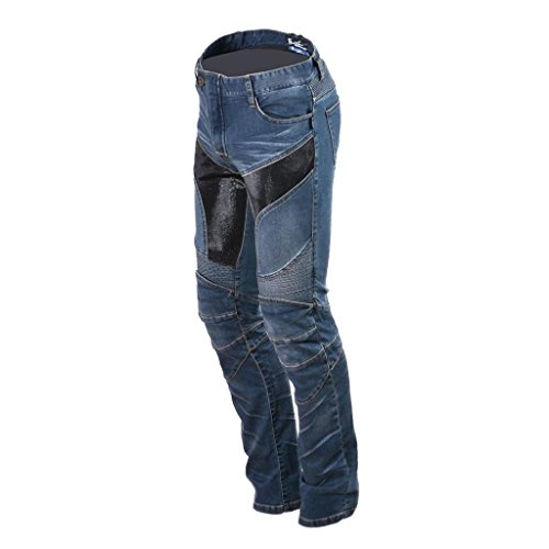 MonkeyJack Blue Motorcycle Riding Pants Denim Jeans with Protect Removeable Pads Equipment - L