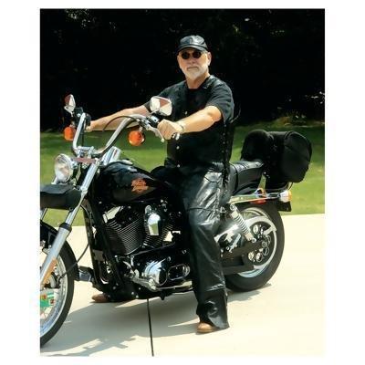 Diamond Plate Rock Design Genuine Buffalo Leather Motorcycle Chaps- 2x