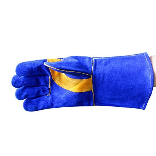 Heat resistant oven mitts Leather Welding Gloves - HeatFire Resistant Perfect for GardeningOvenGrillMigFireplaceStovePot HolderTig WelderBBQ -15inches -2pair non slip