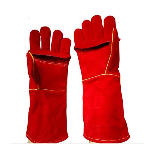 Luckya Safety Welding Gloves Heat Insulation Gloves Cowhide Welding Gloves Color  Red Size  L-10 Pair