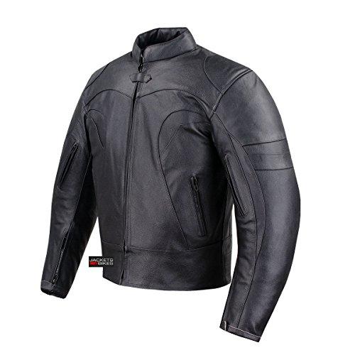BLACKJACK VENTED BIKER COWHIDE AIR FLOW MOTORCYCLE LEATHER ARMOR JACKET BLACK