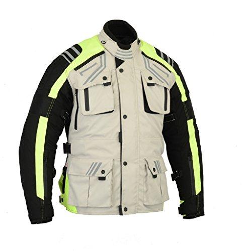 Bikers Gear UK Motorcycle GlowRider Hi Vis Waterproof 5 point CE-1621-1 Armor Jacket