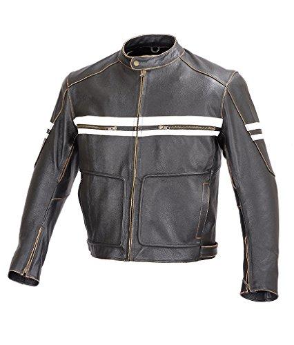 Men Motorcycle Vintage Hand Buffed Leather Armor Jacket Black MBJ031 L