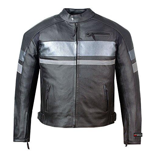 Mens SPARK Motorcycle Biker Leather Armor Jacket Black Reflective Retro L