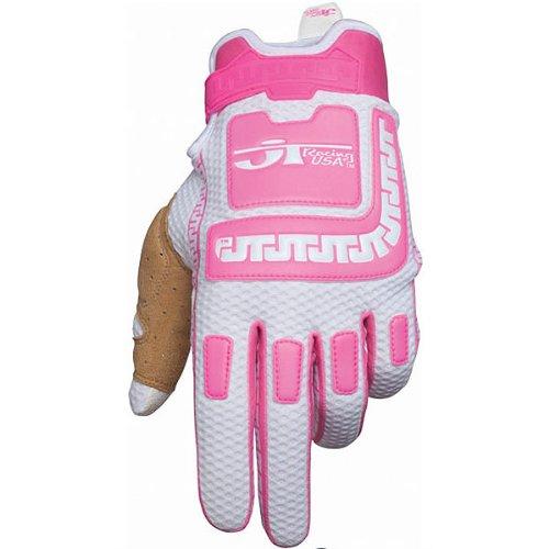 JT Racing USA Life-Line Womens Vented MotoX Motorcycle Gloves - PinkWhite  Medium