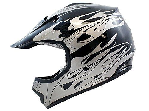 TMS Youth Kids Black Flame Dirt Bike Off-road Motocross Helmet Atv Mx Large