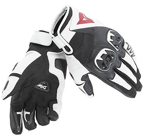 Dainese Mig C2 Adult Cowhide Motorcycle Leather Gloves BlackWhiteBlack Medium
