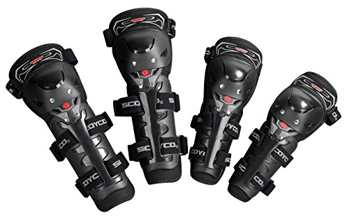 CRAZY AL'S K11H11-2 Knee and Elbow Guards for Motocross and Riding 4 in1 CE Motorcycle Kneepads and Elbow-pads for SCOYCO Black