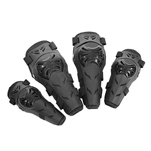 Qiilu 4Pcs Motorcycle Motocross Cycling Elbow Knee Pads Protector Guard Armors Wrist Protective Kneecap Knee Shin Brace Adult Set BlackBlack