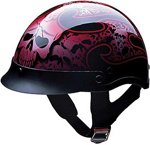 The House Milwaukee Hci Red Tribal Skull, Half Motorcycle Helmet. 100-132