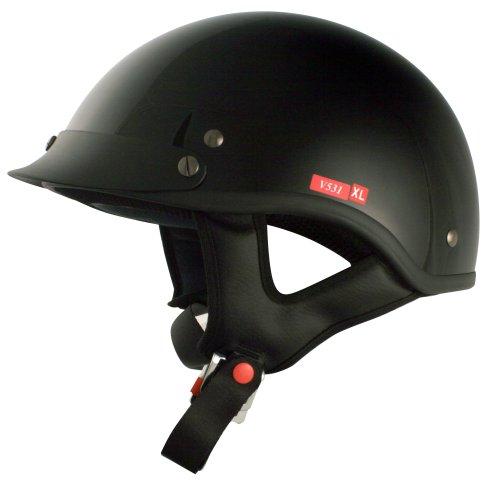 Vcan V531 Cruiser Half Helmet (solid Gloss Black, X-large)