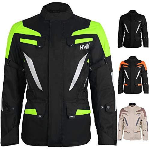 AdventureTouring Mens Motorcycle Jacket Adv Dual Sport Racing CE Armored Waterproof Windproof Jackets All-Weather Hi-Vis Green M
