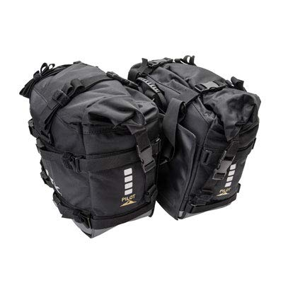 Tusk Dual Sport Adventure Motorcycle Pilot Pannier Bags - BlackGrey - Includes Neck Gaiter with Purchase