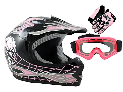 TMS Youth Kids Black Pink Skull Dirt Bike ATV Motocross Helmet with Goggles and Gloves Large