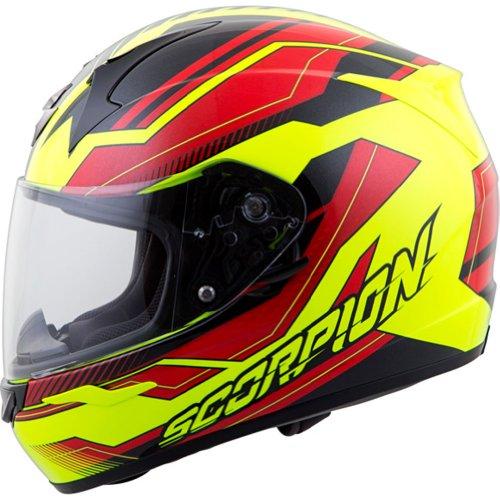 Scorpion Airline Exo-r410 Street Bike Motorcycle Helmet - Red/neon / Large