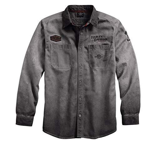 HARLEY-DAVIDSON Official Mens Iron Block Long-Sleeve Shirt Grey Large