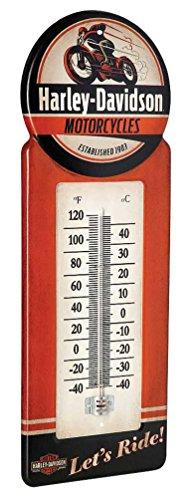 HARLEY-DAVIDSON Tin Thermometer Vintage H-D Motorcycle Metal Design HDL-10098