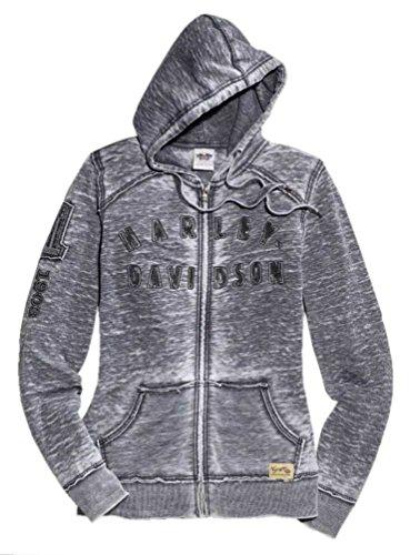 HARLEY-DAVIDSON Womens Hoodie Bar Shield Eagle Burnout Gray 99104-15VW S