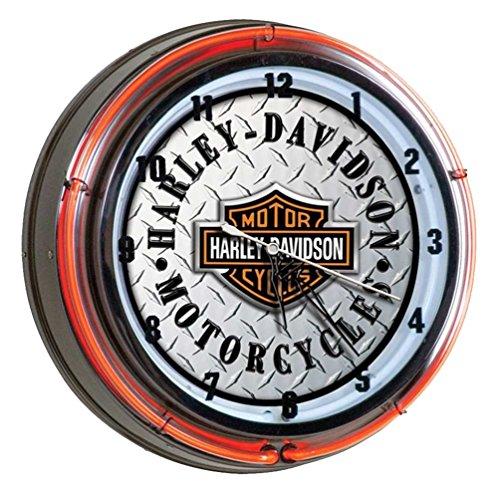 Harley-Davidson Bar Shield Diamond Plate Neon Clock