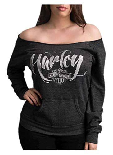 Harley-Davidson Womens Blissful Long Sleeve Raglan Cold Shoulder Pullover XL Gray