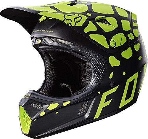 Fox Racing Grav Adult V3 Motocross Motorcycle Helmet - BlackYellow  Medium