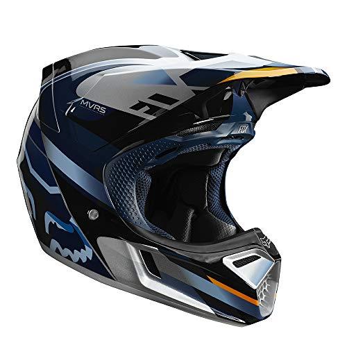 Fox Racing V3 Motif Mens Off-Road Motorcycle Helmet - BlueSilverLarge