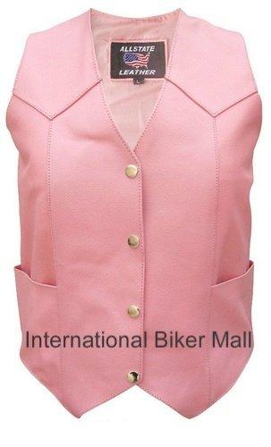 Ladies Basic Pink Motorcycle Vest-AL2320-2X