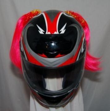 Pink Motorcycle Helmet Pigtails