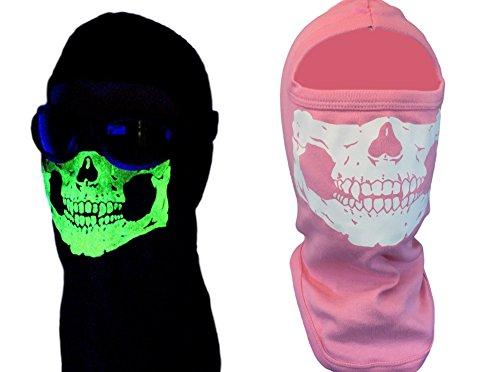 Womens American Made Pink Glow In The Dark 100 Cotton Skull Helmet Liner Balaclava Full Face Ski Mask Hood For Hunting Motorcycle ATV
