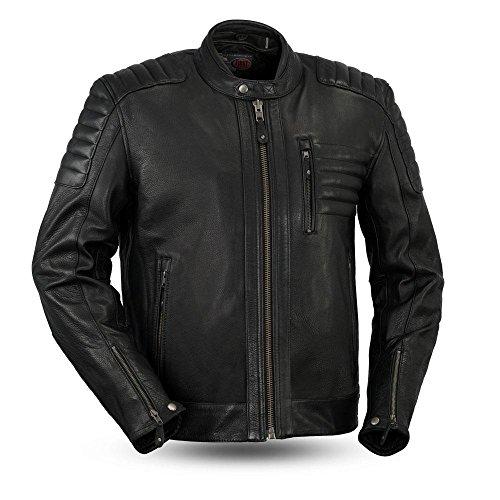 First MFG Co - Defender - Mens Motorcycle Leather Jacket Black 3X-Large