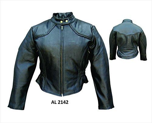 Ladies Cowhide Leather Jacket with Braid Trim - 3X - AL2142