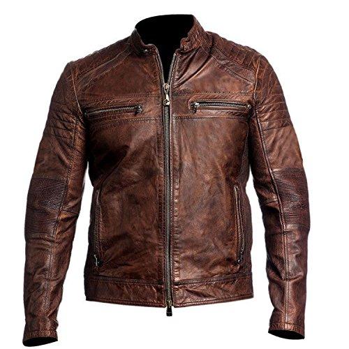 Mens Biker Leather Jacket - Mens Brown Lambskin Leather Cafe Racer Motorcycle Distressed Jacket