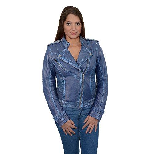 Milwaukee Leather Womens Sheepskin Asymmetrical Moto Jacket With Studding Royal Blue X-Large