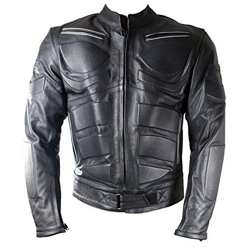 Perrini Mens Black Motorcycle Riding Armor Biker Racing Motorbike Riding Genuine Leather Jacket