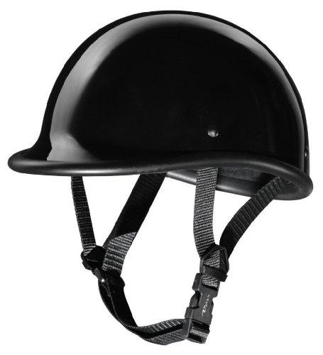 Size M Motorcycle Biker Cruiser Novelty Gloss black Polo Half Helmet Softail Touring Low Profile