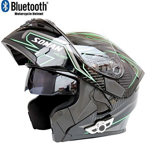 Costrov Motorcycle Bluetooth Helmet Smart Helmet Anti-Fog Double Mirror Automatic Answering Multifunction Bluetooth Music Helmet Full Face Racing Helmet BlackBXXL