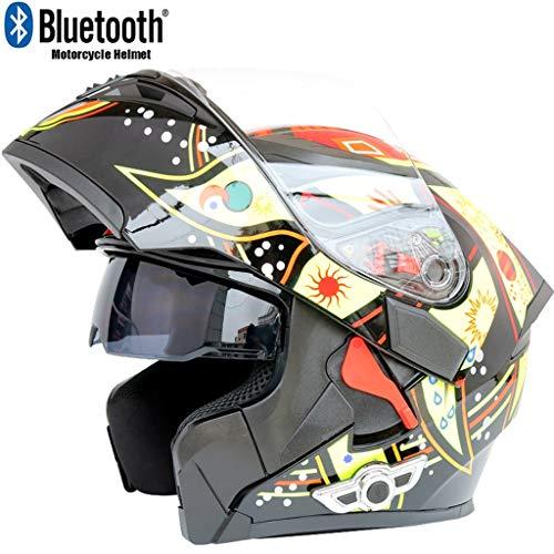 Costrov Motorcycle Bluetooth Helmet Smart Helmet Anti-Fog Double Mirror Automatic Answering Multifunction Bluetooth Music Helmet Full Face Racing Helmet BlackDXL