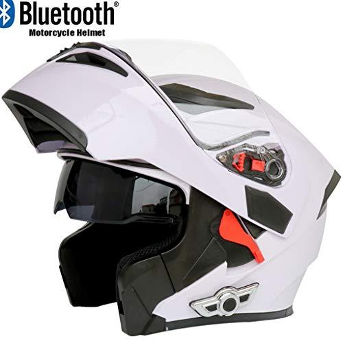 Costrov Motorcycle Bluetooth Helmet Smart Helmet Anti-Fog Double Mirror Automatic Answering Multifunction Bluetooth Music Helmet Full Face Racing Helmet BlackFXXL