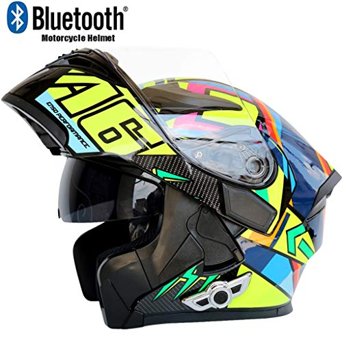Costrov Motorcycle Bluetooth Helmet Smart Helmet Anti-Fog Double Mirror Automatic Answering Multifunction Bluetooth Music Helmet Full Face Racing Helmet BlackHM