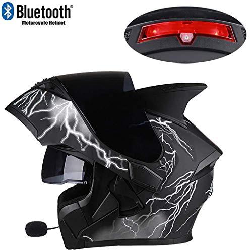 Integrated Bluetooth Modular Helmet Full Face Racing Helmet Modular Open Double Sunshade Anti-Fog Helmet with Microphone Built-in Speaker and LED Warning LightAM