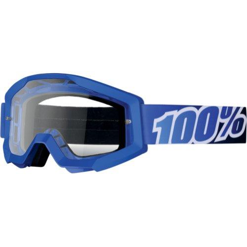100 Strata Mens MXOff-RoadDirt Bike Motorcycle Goggles Eyewear - BlueWhiteBlueBlackClear  One Size