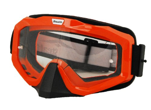 Stealth V0-3000 Elite Motocross Goggles Orange FrameClear Lens