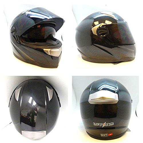 1STorm Motorcycle Street Bike Dual Visor Full Face Helmet Carbon Fiber Black Size Medium 55-56 CM217220 Inch