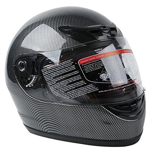 TCMT Adult Carbon Fiber Black Full Face Motorcycle Helmet DOT S