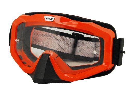 Stealth V0-3000 Elite Motocross Goggles Orange FrameClear Lens