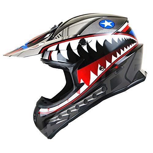 1Storm Adult Motocross Helmet BMX MX ATV Dirt Bike Downhill Mountain Bike Helmet Racing Style HKY_SC09S Shark Black