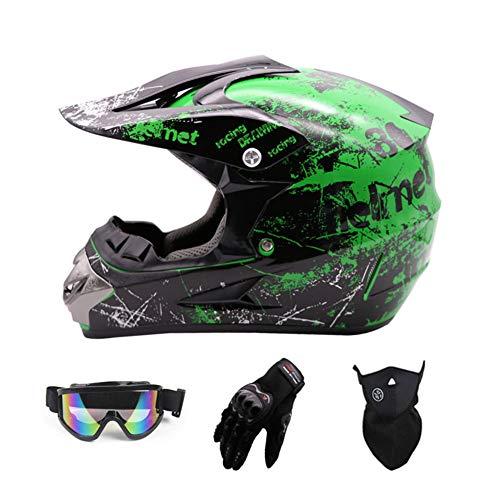 Sanqing Motocross HelmetFull Face Motocross Quad Crash Helmet ECE Downhill Dirt Bike MX ATV Adult Motorbike Helmet Gloves Goggles Mask 4 Piece SetGreenL
