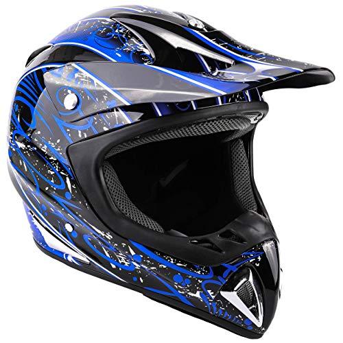 Typhoon Adult Dirt Bike Helmet ATV Off Road ORV Motocross Helmet DOT Motorcycle Blue Medium