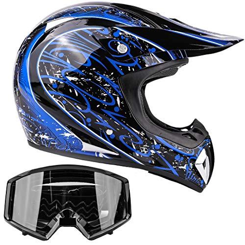 Typhoon Adult Dirt Bike Helmet Goggles Combo ATV Motocross DOT Blue wBlack Small